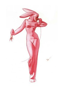 An old bunny pin-up image